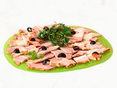 picture of charcuterie  - Tasty healthy calorie charcuterie on a platter - JPG