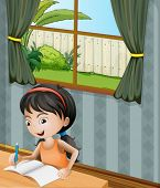 Illustration of a girl with a headband writing