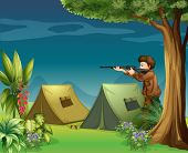 Illustration of a hunter in a campsite