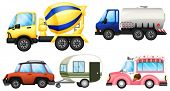 stock photo of ice-cream truck  - Illustration of a set of cars on a white background - JPG