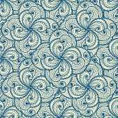 Floral beautiful blue seamless pattern.