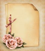 Retro background with beautiful pink rose and old paper.  Raster version of vector.
