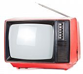 picture of televisor  - Vintage red Television set isolated on white background - JPG