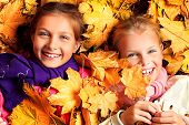 stock photo of little sister  - Portrait of two cute girls sisters lying on the leaves at the autumn park - JPG