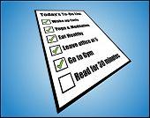 Konzept, Illustration zu pro Tag oder Tag heute tun Liste oder Aufgabe Liste Perspektivansicht einer while Pap