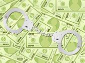 Handcuffs On Dollar Background