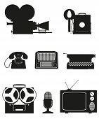Vintage And Old Art Equipment Silhouette Video Photo Phone Recording Tv Radio Writing Vector Illustr