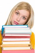 Frustrated Student Girl Holding Stack Of Books