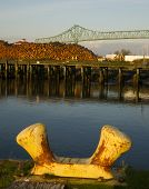 Mooring Post Next To Logging Pier Columbia River Astoria