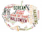 Word Cloud showing words dealing with Halloween in the shape of a jack-o-lantern on a white backgrou