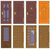 Classic interior and front wooden doors - vector