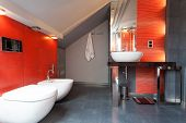 Red And Grey Bathroom