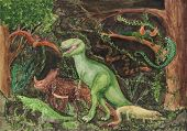 Variety Of Dinosaurs Children's Drawing