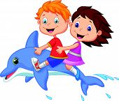 Cartoon Boy and girl riding a dolphin