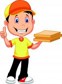 Delivery boy cartoon bringing a cardboard pizza box