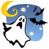 stock photo of wraith  - Halloween ghost silhouette with moon and bats - JPG