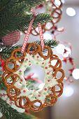 Christmas Decoration with pretzels wreath