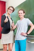 School class Teacher and student stand in front of a blackboard with math work in a classroom during