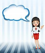 Illustration of a girl talking with an empty cloud template on a white background