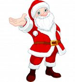 Cute  Santa Clause with his arm raised to present something, sing or announce.