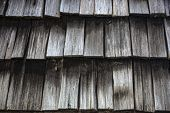 Close up of Weathered Cedar Shingles on roof