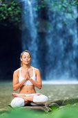 Beautiful Woman Practicing Yoga Outside In Nature, Healthy Lifestyle Wellness Concept