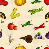 Happy Thanksgiving day seamless pattern background with vegetables.