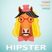 Portrait of funny vintage hipster horse with mustache, red glass