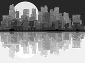 foto of moonlit  - Vector abstract card of stylized big city with downtown and skyscrapers at moonlit night with daylight reflection in black and white tone - JPG