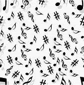 Colorful musical notes, seamless pattern background.