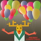 Christmas Deer With Balloons Celebrating New Year Holiday In Vector