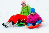 picture of snow-slide  - Winter playing - JPG