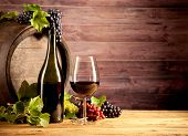 pic of keg  - Still life of wine with wooden keg - JPG
