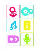 Neon colored flat music icons