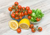 Ripe Cherry Tomatoes, Lemon And Salad Frieze