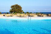 Swimming Pool Near Beach At The Luxury Hotel, Halkidiki, Greece