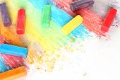 Color pieces of chalk