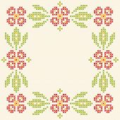 Cross-stitch embroidery in Ukrainian traditional style