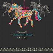 Vintage background with ornamental horses