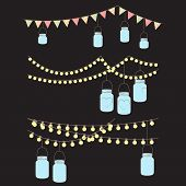 pic of banquet  - Vector Set of Hanging Glass Jar Lights and Bunting - JPG