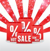 Sale sparkling template with shopping bags