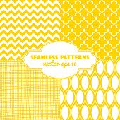 foto of monochromatic  - Set of sweet seamless vector patterns in sunny yellow color - JPG