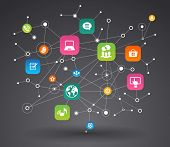 stock photo of node  - Network background with nodes and social media - JPG