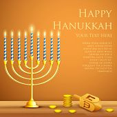 stock photo of menorah  - illustration of burning candle in Hanukkah Menorah with Dreidel - JPG