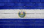 Flag Of El Salvador On Brick Wall