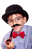stock photo of sherlock holmes  - hat boy and mustache like sherlock holmes - JPG