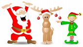 Santa Claus, Reindeer And Christmas Elf On White