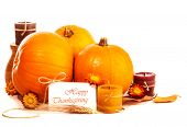 Thanksgiving day still life on isolated on white background, happy holiday, ripe orange gourds with
