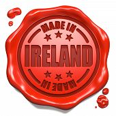 Made in Ireland - Stamp on Red Wax Seal.