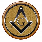 Freemason Metallic Symbol On Wooden Plaque